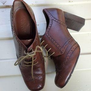 FRANCO SARTO Devote Brown Oxford Heels Lace Up 7.5